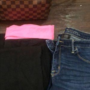 Mossimo skinny jeans and No Boundaries Leggings.